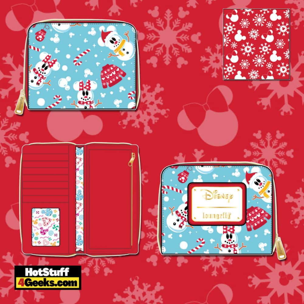 Loungefly Disney Christmas Snowman Mickey and Minnie Mouse Zip Around Wallet