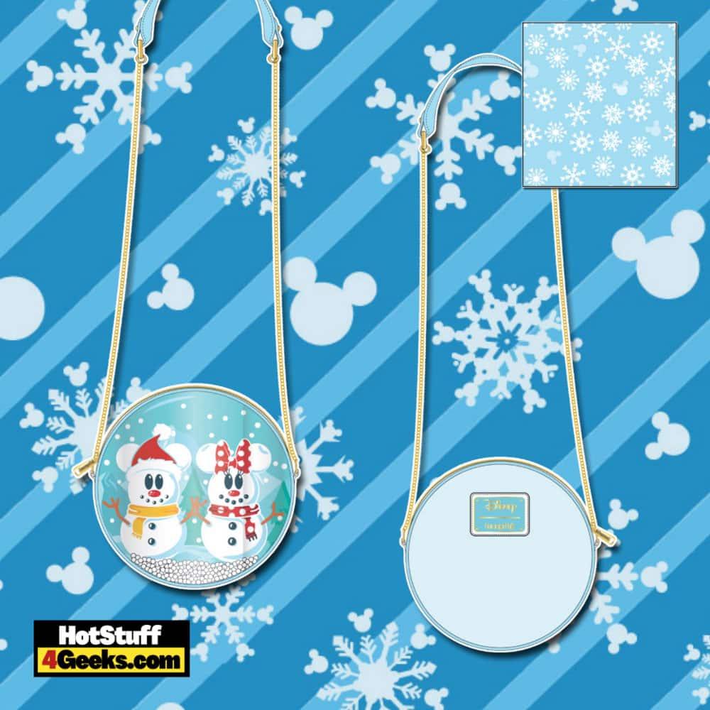 Loungefly Disney Christmas Snowman Mickey and Minnie Snow Globe Crossbody Bag