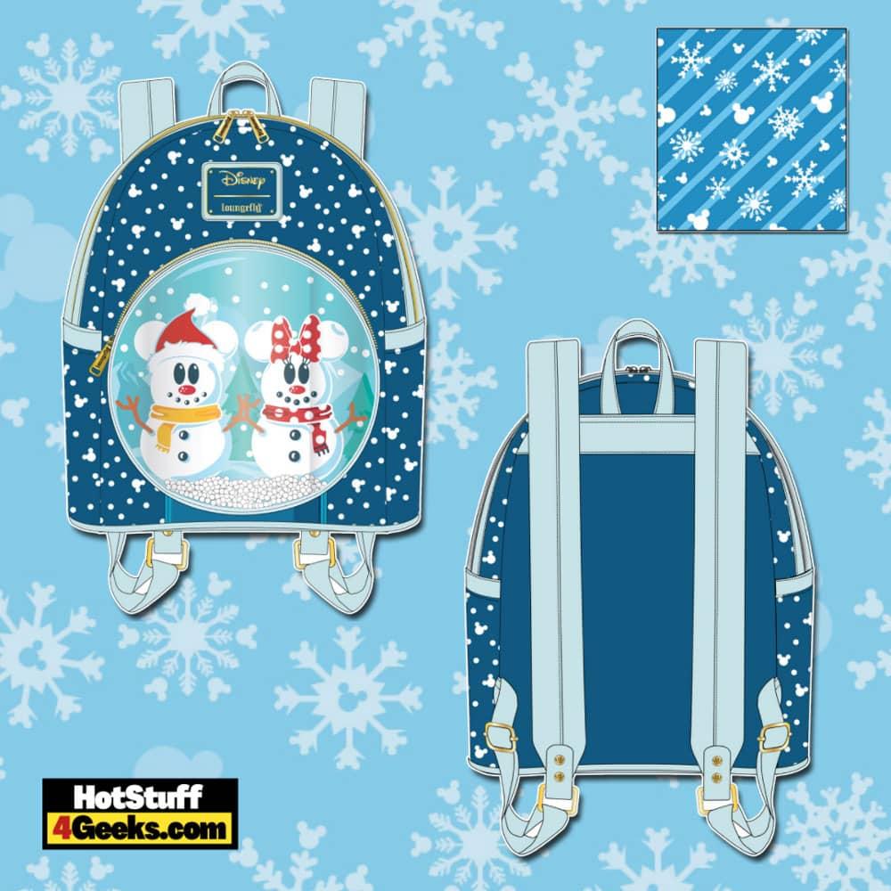 Loungefly Disney Christmas Snowman Mickey and Minnie Snow Globe Mini Backpack