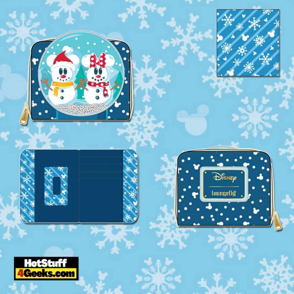 Loungefly Disney Christmas Snowman Mickey and Minnie Snow Globe Zip Around Wallet