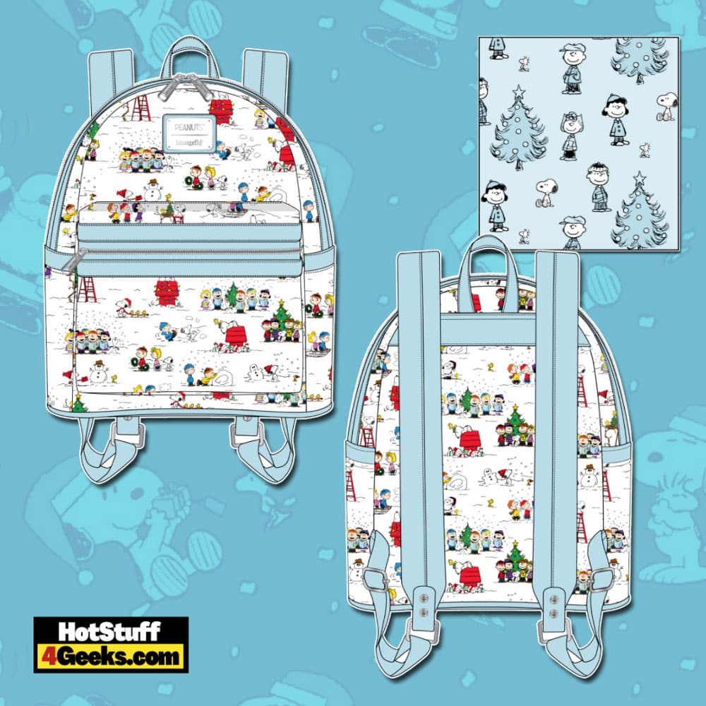 Loungefly Peanuts Christmas Happy Holiday Characters AOP Mini Backpack