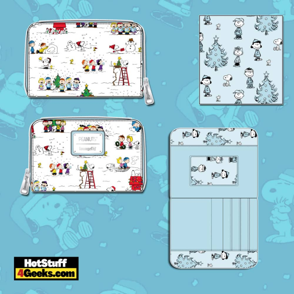 Loungefly Peanuts Christmas Happy Holiday Characters AOP Wallet
