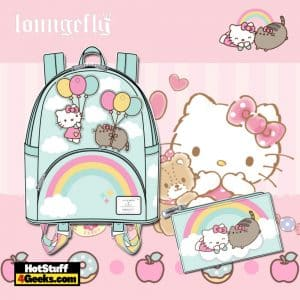 Loungefly Pusheen X Hello Kitty October 2021 Pre-Orders (Balloons and Rainbow Mini Backpack and Rainbow and Clouds Wallet)