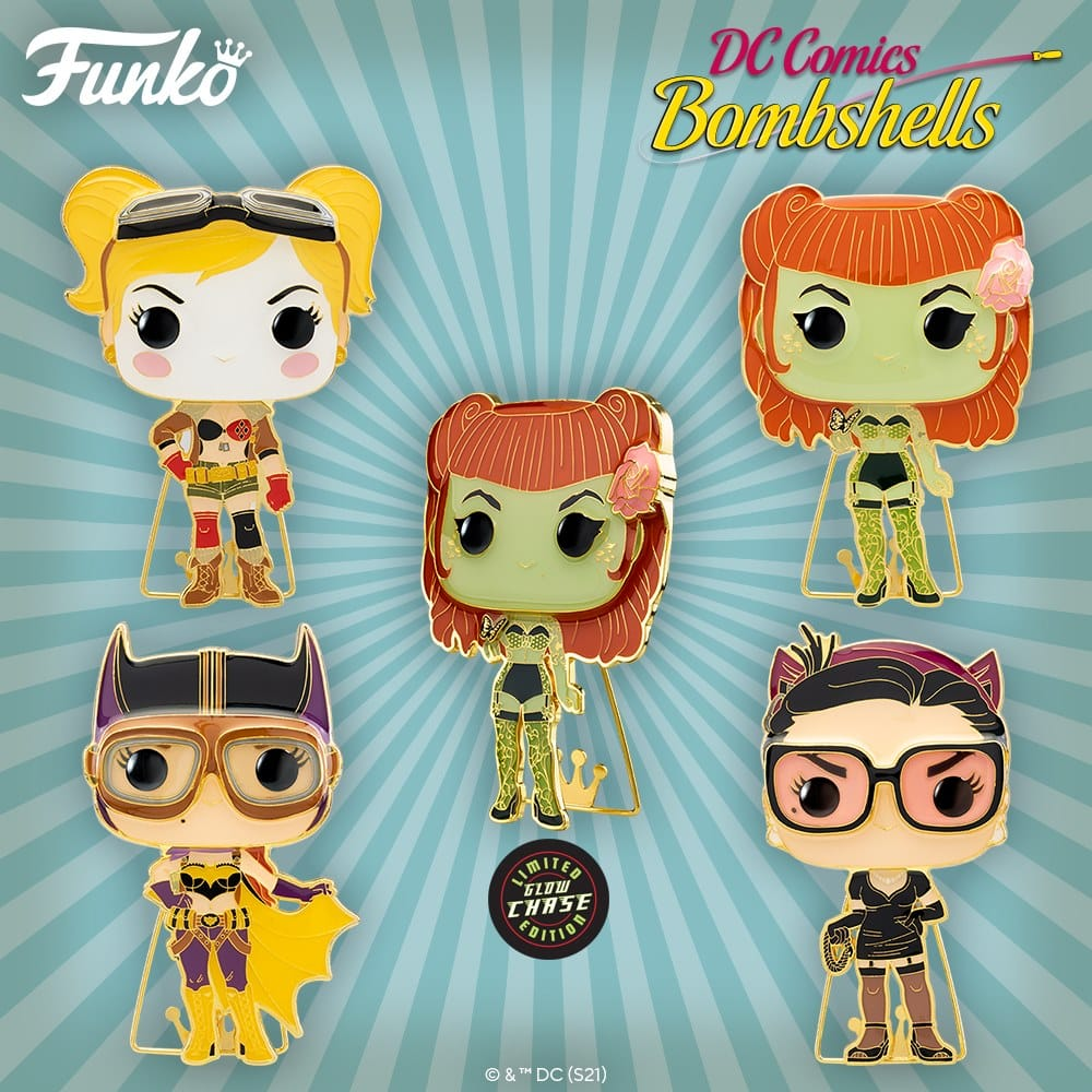 Pop! Pins: DC Bombshells - Catwoman, Batgirl, Harley Quinn, and Poison Ivy with Chase Large Enamel Funko Pop! Pins (2021)
