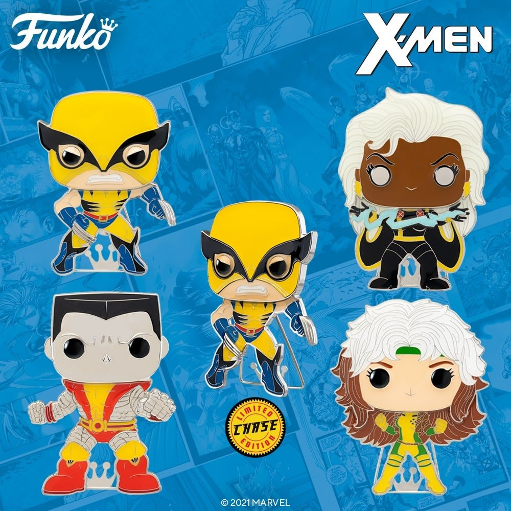 Pop! Pins: Marvel: X-Men - Rogue, Storm, Colossus, and Wolverine with Chase Large Enamel Funko Pop! Pins (2021)