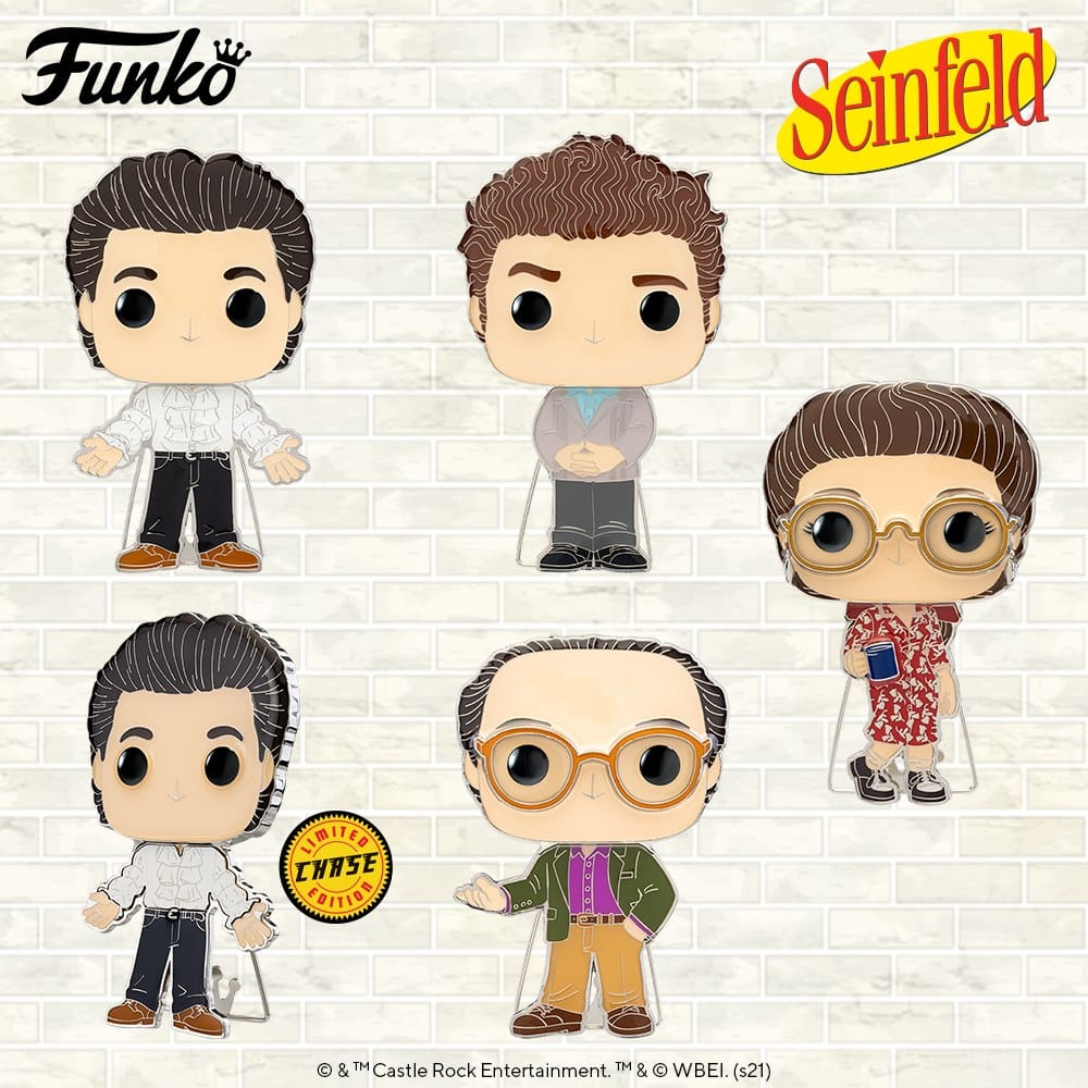Pop! Pins: Seinfeld - Kramer, George, Elaine, and Jerry Puffy Shirt with Chase Large Enamel Funko Pop! Pins (2021)