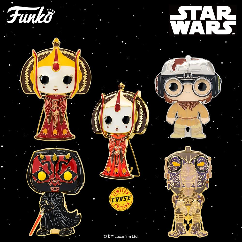 Pop! Pins: Star Wars - Young Anakin, Sebulba, Darth Maul, and Queen Amidala with Chase Large Enamel Funko Pop! Pins (2021)