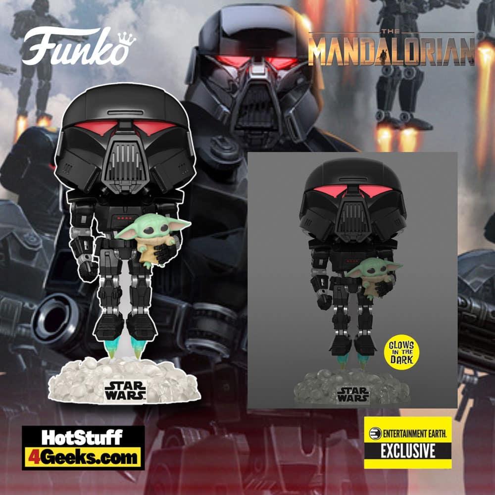 The Mandalorian - Dark Trooper with Grogu Glow-in-the-Dark Pop! Vinyl Figure - Entertainment Earth Exclusive
