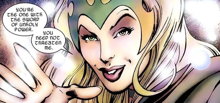 The beautiful Enchantress in the Marvel comics