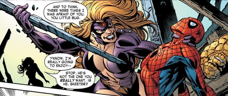 Titania confessing that she was afraid of Spider-Man