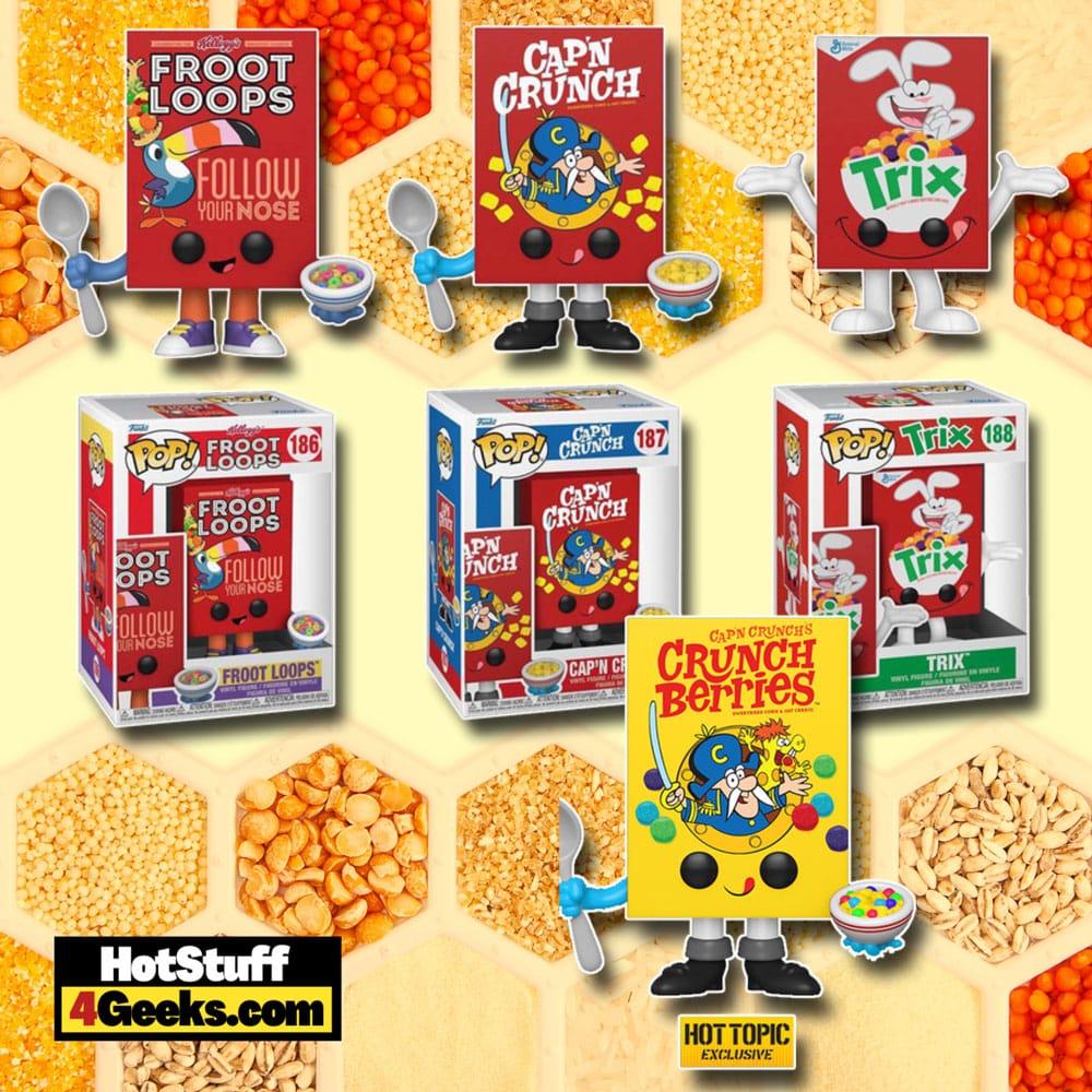 Funko Pop! Foodies: Froot Loops, Trix, Cap'N Crunch, and Cap'N Crunch (Crunch Berries) Cereal Box Funko Pop! Vinyl Figures