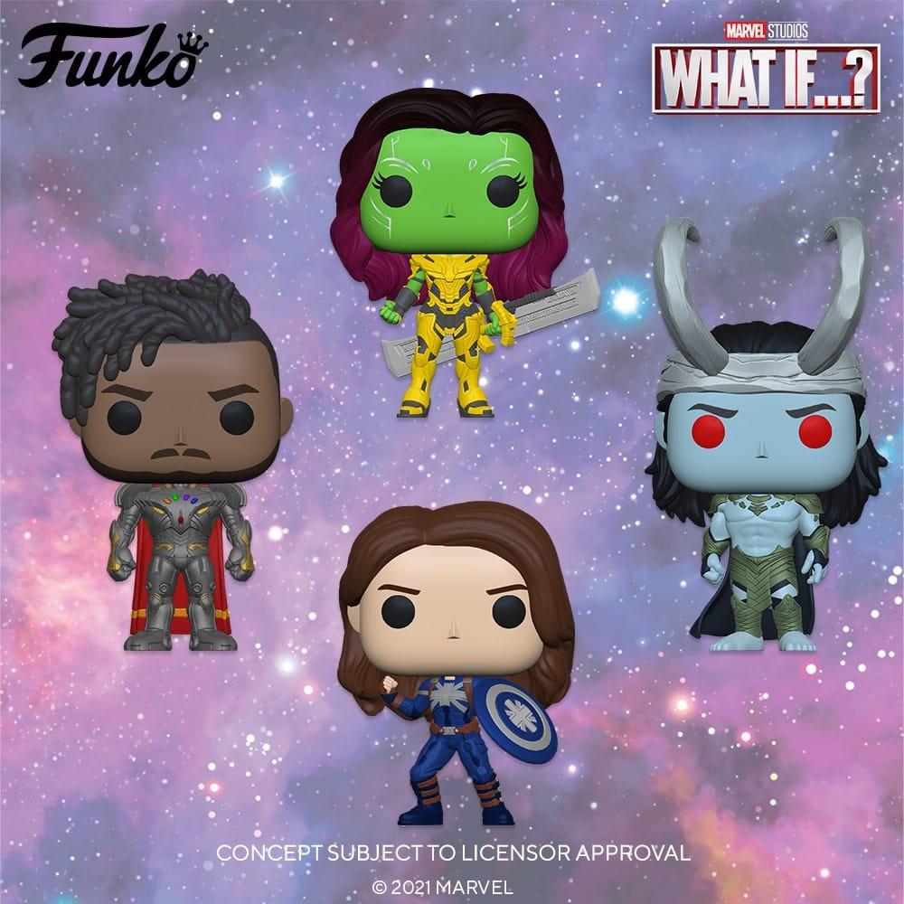 Funko Pop! Marvel: What If…? – Frost Giant Loki, Gamora with Blade of Thanos, Infinity Kilmonger, Captain Carter Stealth Suit, Infinity Ultron Funko Pop! Vinyl Figures