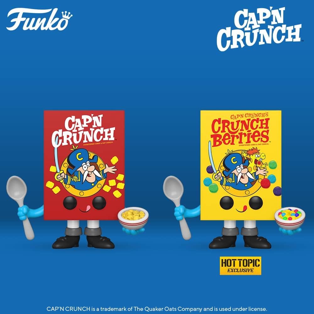 Funko Pop! Foodies: Quaker - Cap'N Crunch, and Cap'N Crunch (Crunch Berries) Cereal Box Funko Pop! Vinyl Figures