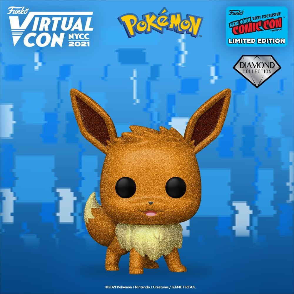 Funko Pop! Games: Pokemon - Eevee Diamond Glitter Funko Pop! Vinyl Figure Funko Virtual Con NYCC 2021 – Hot Topic Shared Exclusive