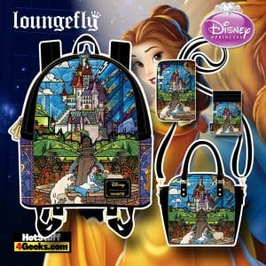 Loungefly Disney Beauty and The Beast Belle Castle Mini Backpack, Crossbody Bag, Wallet, and Card Holder - November 2021 Pre-Orders