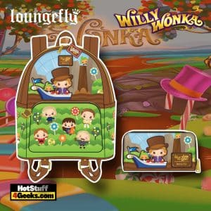 Loungefly Willy Wonka and The Chocolate Factory 50th Anniversary Mini Backpack, and Wallet - November 2021 Pre-Orders