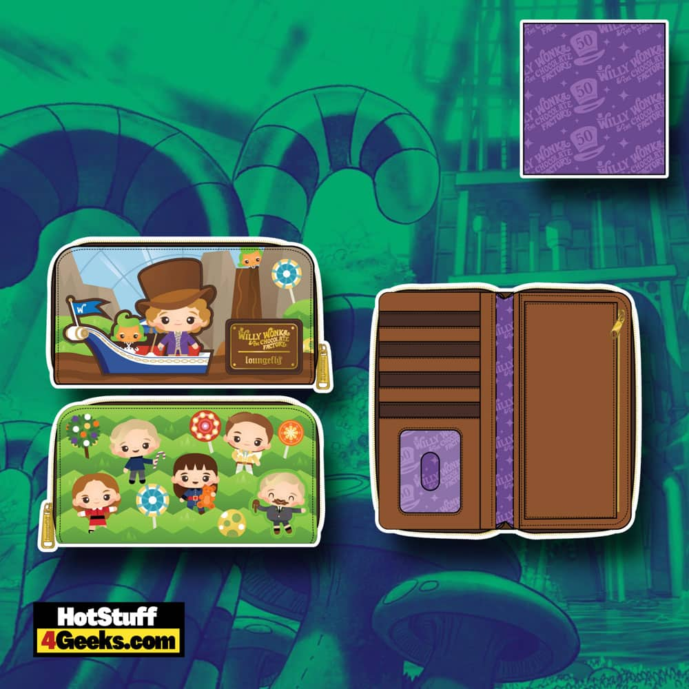 Loungefly Willy Wonka and The Chocolate Factory 50th Anniversary Zip Around Wallet