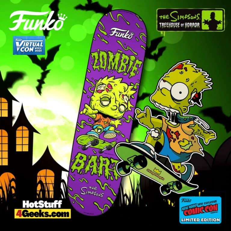 NYCC 2021 Funko The Simpsons Zombie Bart Skateboard Deck